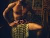 Portrait eines Maori-Tänzers, Auckland, Neuseeland