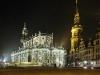 Hofkirche und Stadtschloss von Dresden bei Nacht, Sachsen, Deutschland