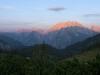 Sonnenaufgang am Watzmann, vom Stahlhaus gesehen, Nationalpark Berchtesgaden, Bayern, Deutschland