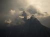 Blick vom Schachen auf das wolkenverhangene Wettersteingebirge, Bayern, Deutschland
