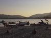 Die letzten Sonnenstrahlen am Strand von Marina Di Campo, Elba, Toskana, Italien