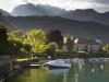 Morgensonne im Hafen von Talloires, Lac d\'Annecy, Savoyen, Frankreich