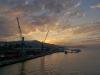 Einfahrt der Fähre von Sardinien in den Hafen von Genua, Ligurien, Italien