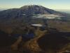 Blick auf aktiven Vulkan Ruapehu im Tongariro Nationalpark, Nordinsel, Neuseeland
