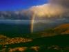 Regenbogen unterhalb der Ketetahi-Hütte, Tongariro Nationalpark, Neuseeland