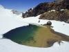 Schneebedeckte Emerald Lakes, Tongariro Nationalpark, Nordinsel Neuseeland
