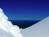 Taranaki im Winter vom Gipfel des Ngauruhoe, Tongariro Nationalpark, Nordinsel Neuseeland