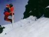 Snowboarder im Whakapapa-Skigebiet am Ruapehu, Tongariro Nationalpark, Nordinsel Neuseeland