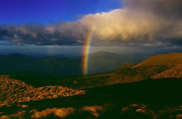 Regenbogen vor dem Lake Rotaira, Ketetahi Hütte, Tongariro Nationalpark, Nordinsel Neuseeland