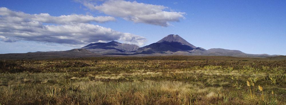Das Tongariro-Massiv von Westen gesehen
