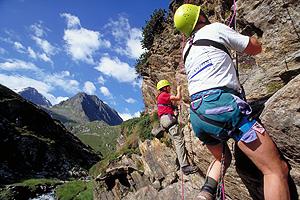 Im Klettergarten bei der Franz-Senn-Hütte, Stubai, Tirol