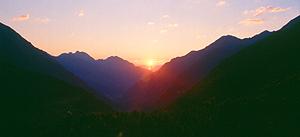 Sonnenaufgang auf der Franz-Senn-Hütte, Stubai, Österreich