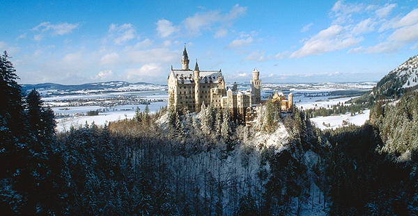 Schloss Neuschwanstein, das Märchenschloss von König Ludwig II, Füssen, Bayern, Deutschland