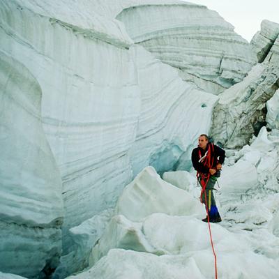 Bergsteiger im Gletscherbruch des Pers-Gletschers beim Aufstieg auf den Piz Palü, Engadin, Graubünden, Schweiz
