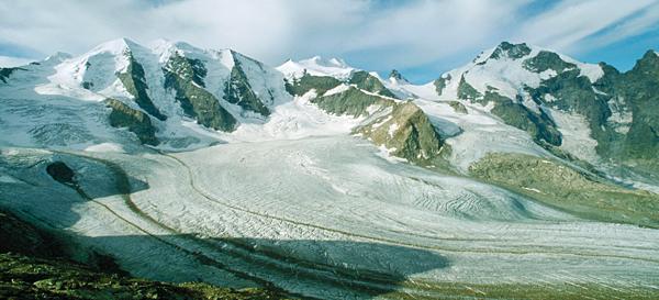 Panorama von Piz Palü, Bellavista und Piz Bernina von der Diavolezzahütte, Engadin, Graubünden, Schweiz