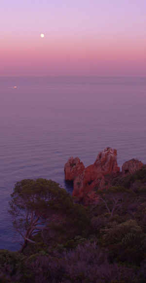 Abendstimmung mit Vollmond am Cap Dramont, Estérel, Cote d'Azur, Frankreich
