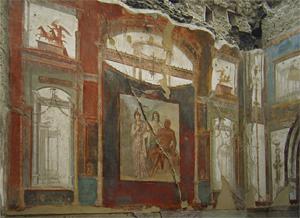 Apotheose des Herakles - Fresko im Collegium der Augustalen, Herkulaneum, Kampanien, Italien