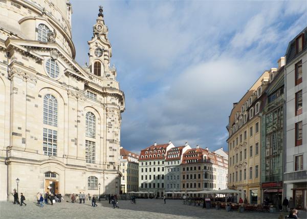 Neumarkt und Frauenkirche in Dresden, Sachsen, Deutschland