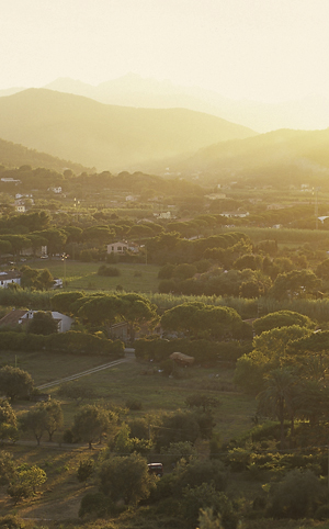 Ausblcik von der Villa Romana auf die Ebene beo Portoferraio, Elba, Toskana, Italien