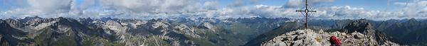 Panorama von der Kogelseespitze, Lechtaler Alpen, Tirol, Österreich