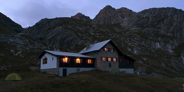 Abendstimmung am Württemberger Haus, Lechtaler Alpen, Tirol, Österreich