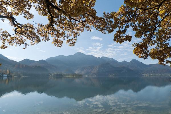 Herbstmorgen am Ufer des Kochelsee mit Blick auf den Herzogstand, Bayern, Deutschland