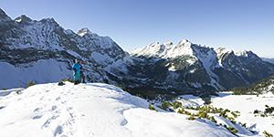 Blick auf den kleinen Ahornboden und zentralen Karwendel-Hauptkamm vom Ladizköpfel, Tirol, Österreich