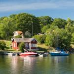 Schwedenhäuser in Vagnsunda auf Yxlan, Archipelago, Schweden.