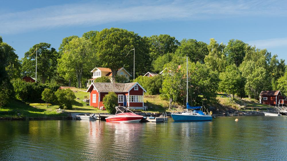 Schwedenhäuser in Vagnsunda auf Yxlan, Archipelago, Schweden