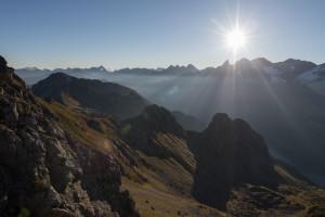 Hauptkamm der Allgäuer Alpen und das Stillachtal, Deutschland