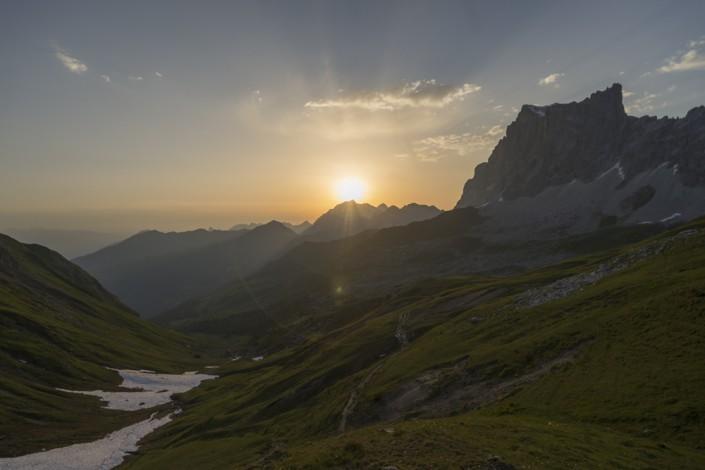 Sonnenuntergang auf der Carschinahütte, Rätikon, Graubünden, Schweiz