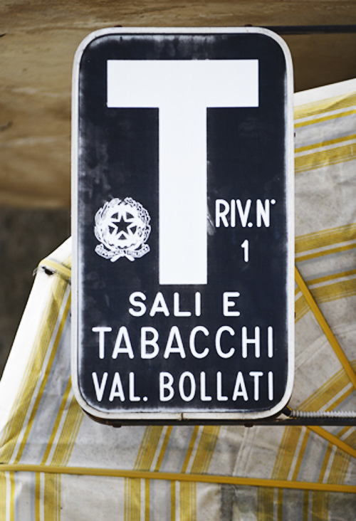 Tabacchi-Schild, Camerota, Cilento, Kampanien, Italien
