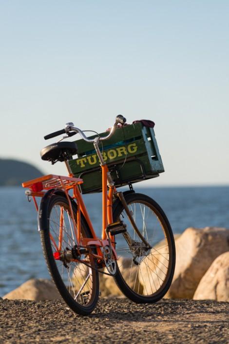 Fahrrad im Hafen von Vik, Schonen, Südschweden