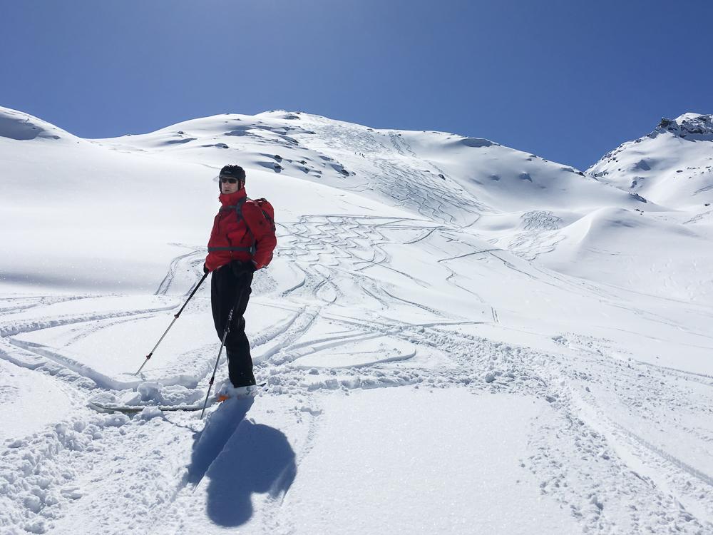 er Gipfelhang des Sonntagsköpfl (2.244 m) bot mit herrlichem Pulverschnee traumhafte Abfahrtsbedingungen