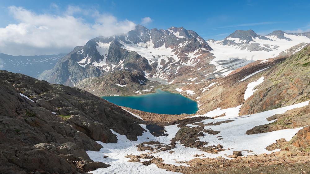 Vogelsee vor Botzer und Übeltalferner, Ridnauntal, Südtirol, Italien