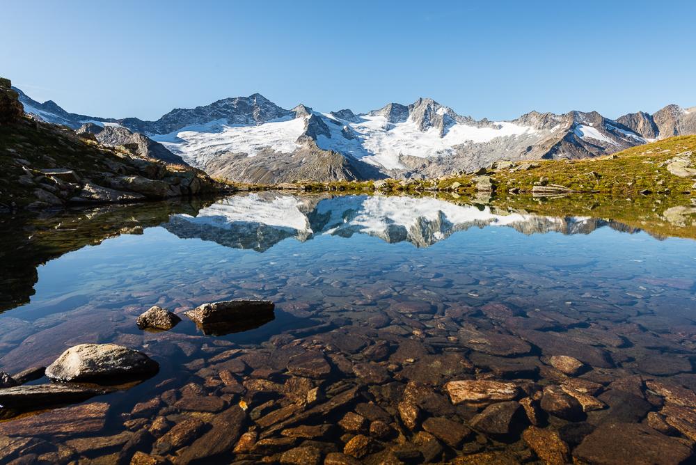 Turnerkamp, Großer Möseler, Steinmandl, Waxegg- und Hornkees spiegeln sich in einem See, Zillertal, Tirol, Österreich