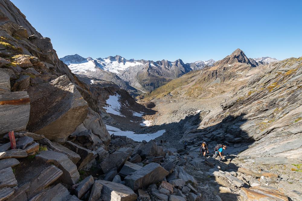 Blick von der Mörchenscharte auf Turnerkamp, Großer Möseler, Waxegkees und Hornkees am Zemmgrund, Zillertal, Tirol, Österreich