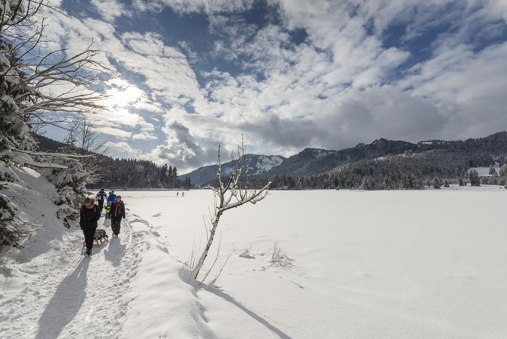 Familie mit Kindern und Schlitten wandert im Sonnenschein am Ufer des zugefroreren Spitzingsee in den verschneiten bayrischen Alpen