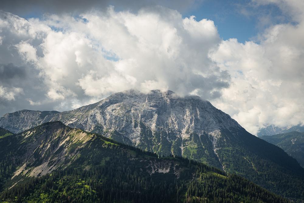 Blick vom Gipfel der Halserspitz auf Guffert, Tirol, Österreich