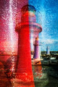 Collage aus den Leuchttürmen an der Hafeneinfahrt von Castiglione della Pescaia, Maremma, Toskana, Italien