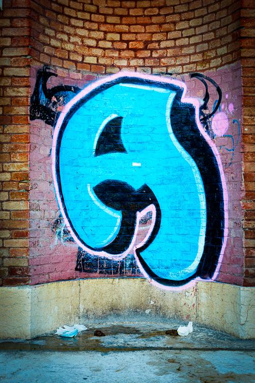 Graffiti auf Backsteinmauer und Müll und Kothaufen auf dem Boden, Verona, Italien