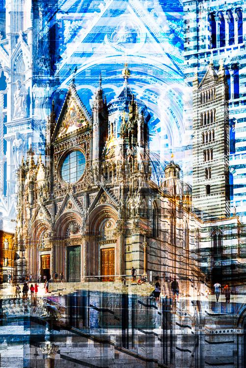 Prachtvoll verzierte Fassade des Hauptportals vom Dom von Siena