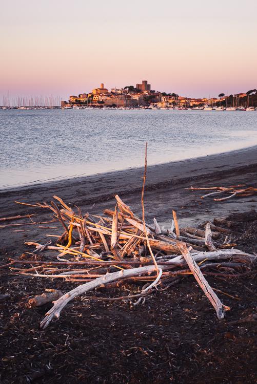 Gebilde aus Treibholz am Strand vor der Altstadt von Talamone am Mittelmeer, Maremma, Toskana, Italien
