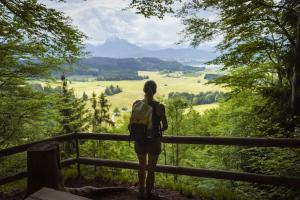 Blick über das Allgäu und die Alpen vom Aussichtspunkt Drei-Schlösser-Blick nördlich vom Hopfensee, Bayern, Deutschland