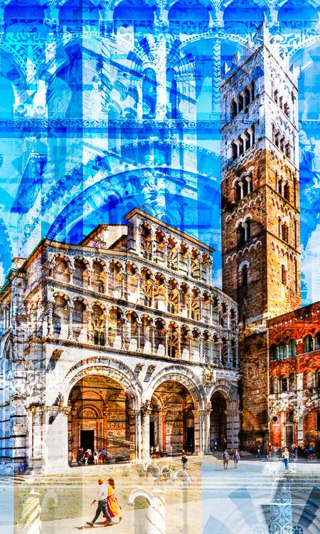 Säulen, Gesimse, Bänder und Bögen an Turm und Westfassade der romanischen Kathedrale San Martino in Lucca, Toskana, Italien